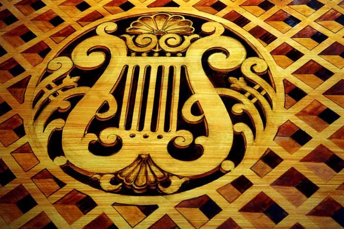 Faux-Marquetry (detail), piano, Gershon residence.